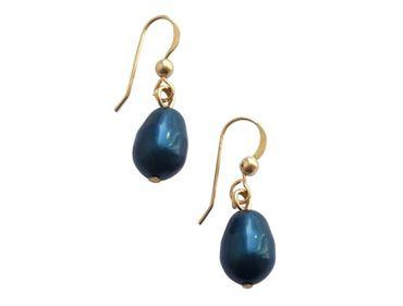 Gemshine - Damen - Ohrringe - Vergoldet - MK-Perlen - Tahiti Blau - Tropfen - 1,5 cm