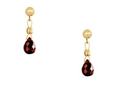 Gemshine - Damen - Ohrringe - Vergoldet - Granat - Facettiert - Tropfen - Rot - Dukelrot - 1,5 cm