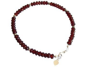 Gemshine - Damen - Armband  - 925 Silber - Granat - Facettiert - Rot - Dunkelrot