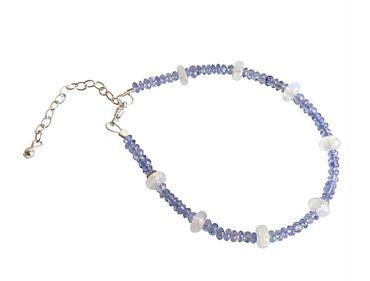 Gemshine - Damen - Armband - 925 Sterling Silber - Tansanit - Mondstein - Facettiert - Blau - Lila - Weiß