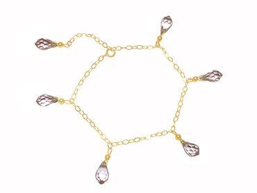 Gemshine - Damen - Armband - Vergoldet - Rosenquarz - Facettiert - Tropfen - Rosa