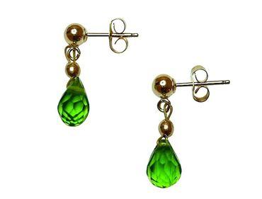 Gemshine - Damen - Ohrringe - Vergoldet - Peridot - Tropfen - Facettiert - Grün - 2 cm
