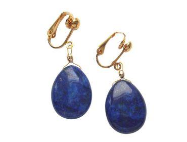 Gemshine - Damen - Ohrringe - Ohrclips - Vergoldet - Lapis Lazuli - Tropfen - Blau - 3 cm
