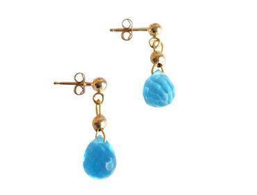 Gemshine - Damen - Ohrringe - Vergoldet - Topas Quarz - Tropfen - Facettiert - Blau - 1,5 cm