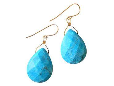 Gemshine - Damen - Ohrringe - Vergoldet - Türkis - Tropfen - Facettiert - Blau - 2 cm
