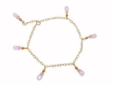 Gemshine - Damen - Armband - Vergoldet - Rosenquarz - Tropfen - Facettiert - Rosa - Größenverstellbar