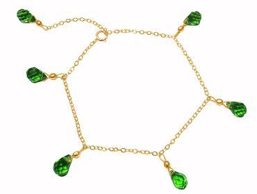 Gemshine - Damen - Armband - Vergoldet - Peridot - Tropfen - Facettiert - Grün - Größenverstellbar
