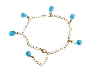 Gemshine - Damen - Armband - Vergoldet - Topas Quarz - Tropfen - Facettiert - Blau - Größenverstellbar