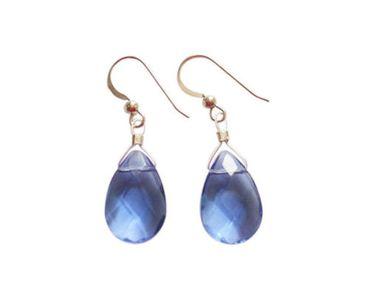 Gemshine - Damen - Ohrringe - 925 Silber - Topas Quarz - Facettiert - Tropfen - Blau - 2 cm