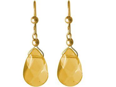 Gemshine - Damen - Ohrringe - Vergoldet - Citrin - Tropfen - Facettiert - Gelb - 2,5 cm