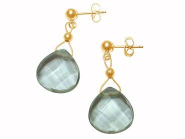 Gemshine - Damen - Ohrringe - Vergoldet - Aquamarin Quarz - Tropfen - Facettiert - Blau - 2 cm