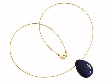 Gemshine - Damen - Lapis Lazuli - Anhänger - Halskette - Blau - Vergoldet - Tropfen - 45 cm