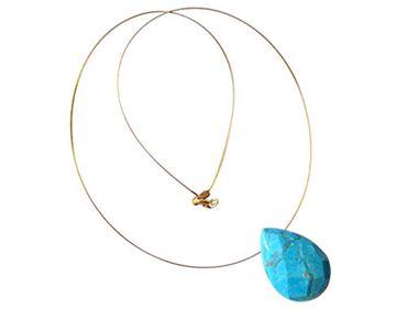 Gemshine - Damen - Anhänger - Halskette - Vergoldet - Türkis - Tropfen - Facettiert - Blau - 45 cm
