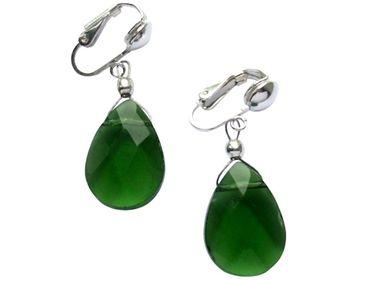 Gemshine - Damen - Ohrringe - Ohrclips - 925 Silber - Turmalin Quarz - Tropfen - Facettiert - Grün - 2 cm