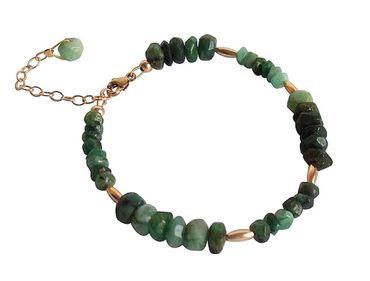 Gemshine - Damen - Armband - Vergoldet - Smaragd - Facettiert - Grün