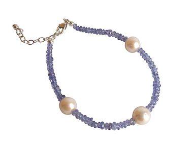 Gemshine - Damen - Armband - Vergoldet - Tansanit - Blau - Lila - Perle - Weiß