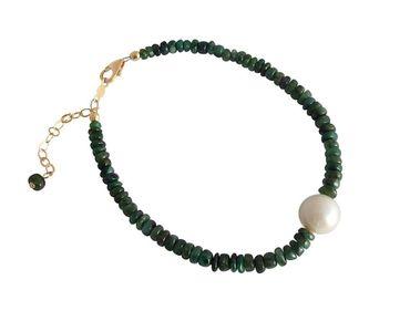 Gemshine - Damen - Armband - Vergoldet - Smaragd - Grün - Perle - Weiß