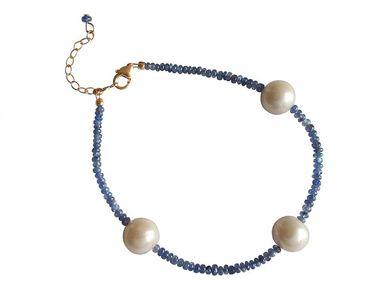 Gemshine - Damen - Armband - Vergoldet - Saphir - Blau - Perle - Weiß