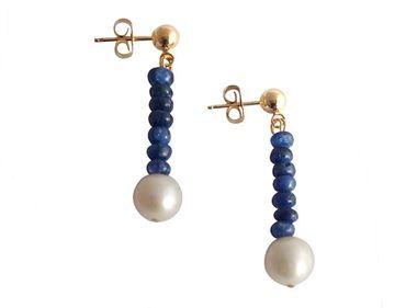 Gemshine - Damen - Ohrringe - Vergoldet - Saphir - Blau - Perle - Weiß - 3 cm