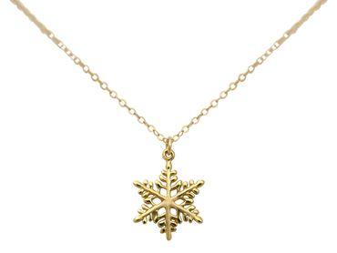 Gemshine - Damen - SCHNEEFLOCKE - Halskette - 925 Sterling Silber - Vergoldet - 2 cm