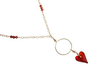 Gemshine - Damen - Herz - Halskette - Anhänger - Vergoldet - Wld Heart Halskette *Red Magma* - Rot - MADE WITH SWAROVSKI ELEMENTS® - 45 cm