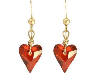 Gemshine - Damen - Herz - Ohrringe - Vergoldet - Wild Heart - *Red Magma* - Rot - MADE WITH SWAROVSKI ELEMENTS® - 2 cm
