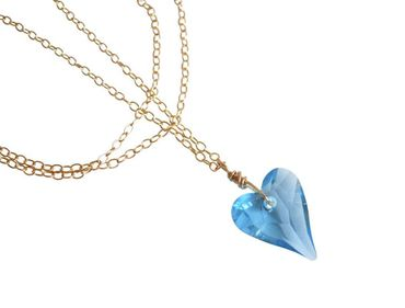 Gemshine - Damen - Herz - Halskette - Anhänger - Vergoldet - Wild Heart - *Aquamarin* - Blau - MADE WITH SWAROVSKI ELEMENTS® - 45 cm