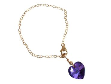 Gemshine - Damen - Herz - Armband - Vergoldet - Violett - Blau - MADE WITH SWAROVSKI ELEMENTS® - Größenverstellbar