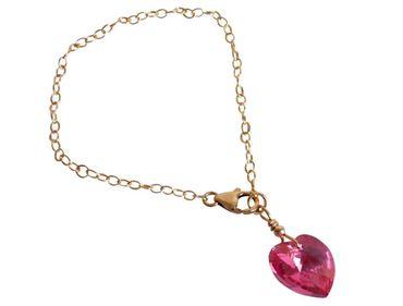 Gemshine - Damen - Herz - Armband - Vergoldet - Rosa - MADE WITH SWAROVSKI ELEMENTS® - Größenverstellbar