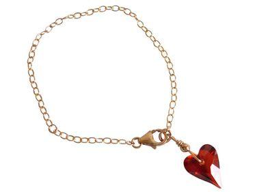 Gemshine - Damen - Herz - Armband - Vergoldet - *Red Magma* - Rot MADE WITH SWAROVSKI ELEMENTS® - Größenverstellbar