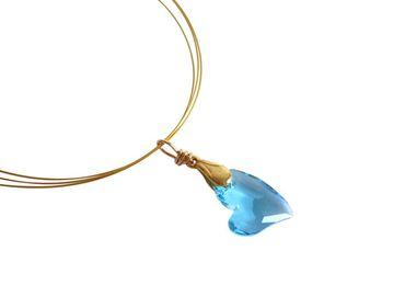 Gemshine - Damen - Herz - Halskette - Anhänger - Vergoldet - *Aquamarin* - Blau - Made with Swarovski Elements - 45 cm