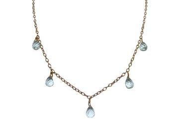 Gemshine - Kinder - Halskette - Vergoldet - Aquamarin Quarz - Blau - Größenverstellbar
