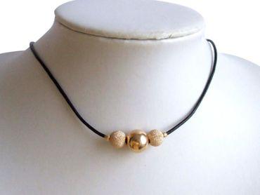 Gemshine - Damen - Halskette - Vergoldet - Leder - 42 cm