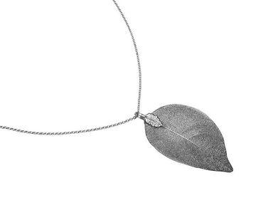 Gemshine - Damen - Halskette - Anhänger - 925 Silber - Blatt - Rose - Natur - 7 cm