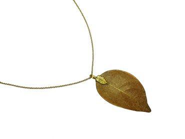 Gemshine - Damen - Halskette - Anhänger - Vergoldet - Blatt - Rose - Natur - 7 cm