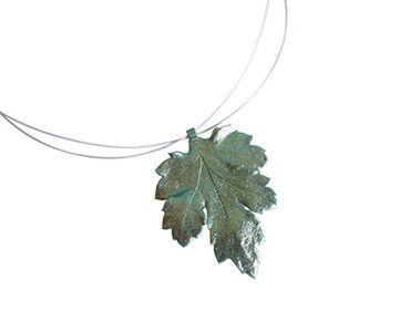 Gemshine - Damen - Halskette - Anhänger - 925 Silber - Blatt - Chrysanthem - Natur - 3,5 cm
