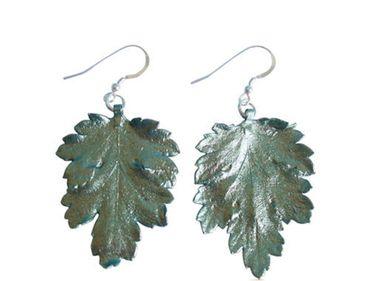 Gemshine - Damen - Ohrringe - 925 Silber - Blatt - Chrysanthem - Natur - 3,5 cm