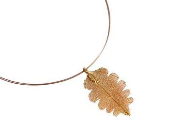 Gemshine - Damen - Halskette - Anhänger - Vergoldet - Blatt - Eiche - Natur - 6,5 cm
