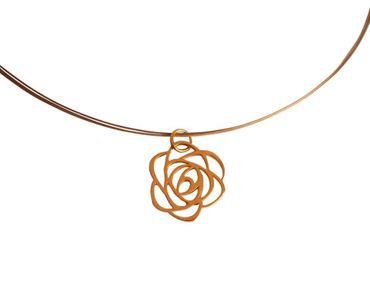 Gemshine - Damen - Halskette - Anhänger - 925 Silber Vergoldet - Blume - Rose - Art Deco - 2 cm
