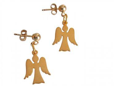 Gemshine - Damen - Kinder - Ohrringe - 925 Silber Vergoldet - Engel - 2 cm