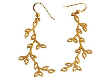 Gemshine - Damen - Ohrringe - 925 Silber - Vergoldet - Lotus Blüten Blätter - LEAVES - 6,5 cm