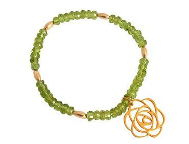 Gemshine - Damen - Armband - Vergoldet - Blume Art-Deco - Grün