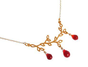 Gemshine - Damen - Halskette - Anhänger - Jade - 925 Silber - Vergoldet - Lotus Blumen - Rot - LEAVES - 45 cm
