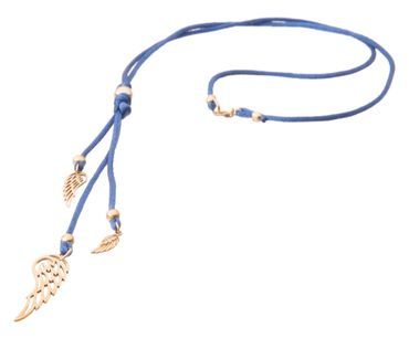 Gemshine - Damen - Halskette - Anhänger - 925 Silber - Vergoldet - Blau - WINGS - 60 cm