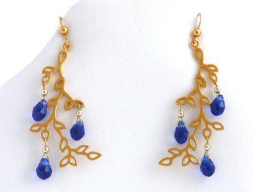 Gemshine - Damen - Ohrringe - Lotus Blüten Blätter - LEAVES - Iolith - Blau - 925 Silber - Vergoldet - 6 cm
