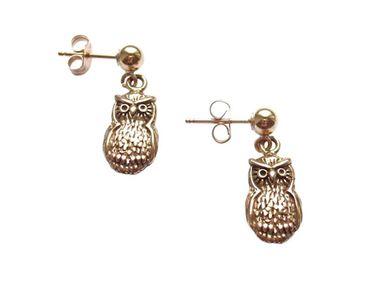 Gemshine - Damen - Ohrringe - 925 Silber - Vergoldet - UHU - 2 cm