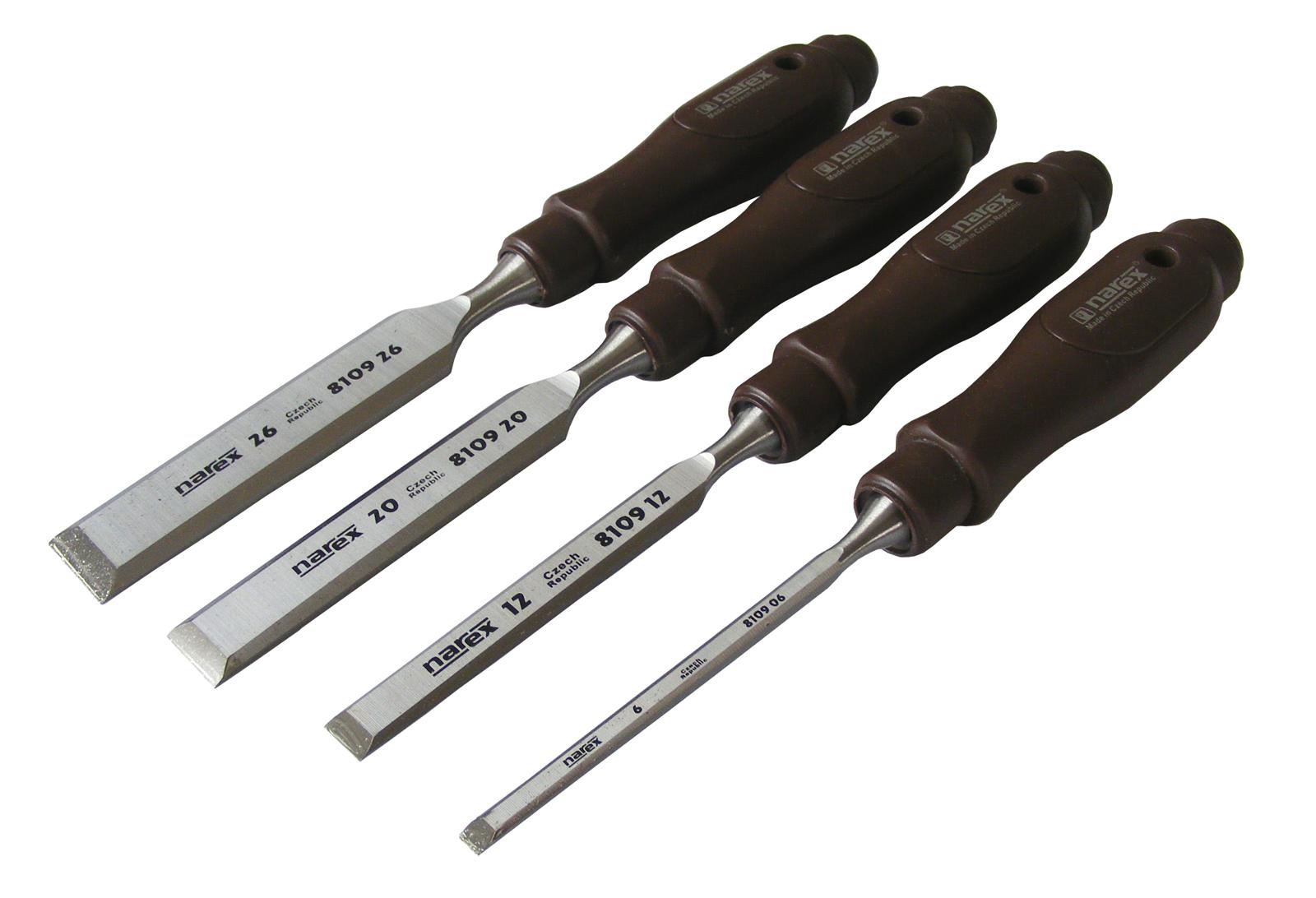 details about narex chisel set 4 piece (6 / 12/20/26) with plastic handle