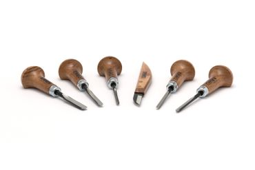 Set of 6 woodturning chisels for woodcarving and linocut