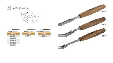 Kerbschnitzbeitel - Profil 9 - gebogen / halbrund - 16 mm – Bild 2