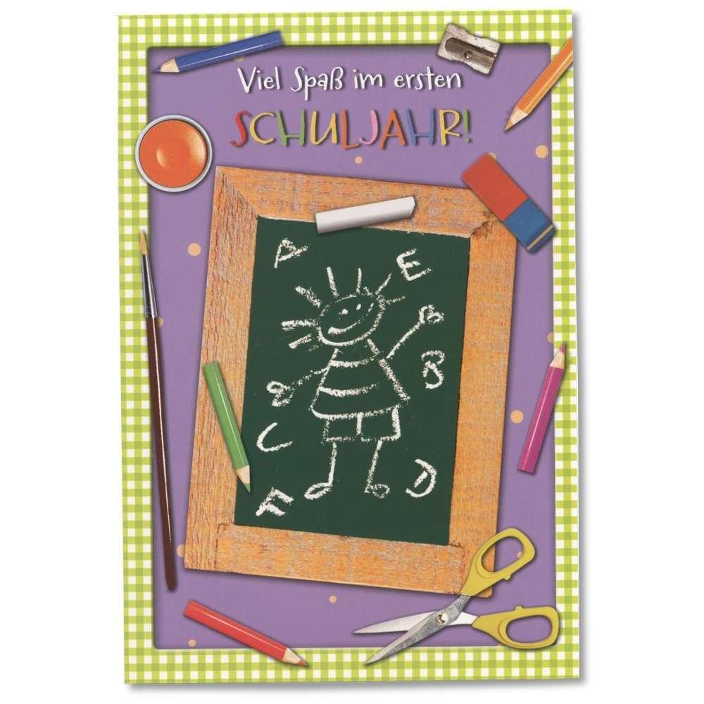 Cartolini Grußkarte Schulanfang Viel Spaß im ersten Schuljahr Tafel Stifte Schere mit Kuvert